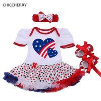 Aşk Amerika Bebek Kız Temmuz Kıyafetler Romper Parti elbise Beşik Ayakkabı Headband 3 ADET Yenidoğan Tutu Kız Giysi Setleri 2016
