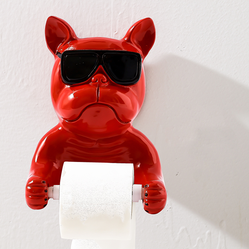 Decorative Roll Paper Holder Wall Hanging Tissue Box Kitchen Bathroom Animal Red Cool Bull Dog Toilet Paper Tissue CanisterDecorative Roll Paper Holder Wall Hanging Tissue Box Kitchen Bathroom Animal Red Cool Bull Dog Toilet Paper Tissue Canister
