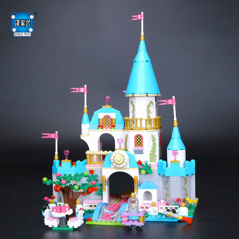 697pcs Princess Cinderella's Romantic Castle Building Block Set Prince Charming Girls Toy Compatible with Lepines  Figures Gift dear prince charming