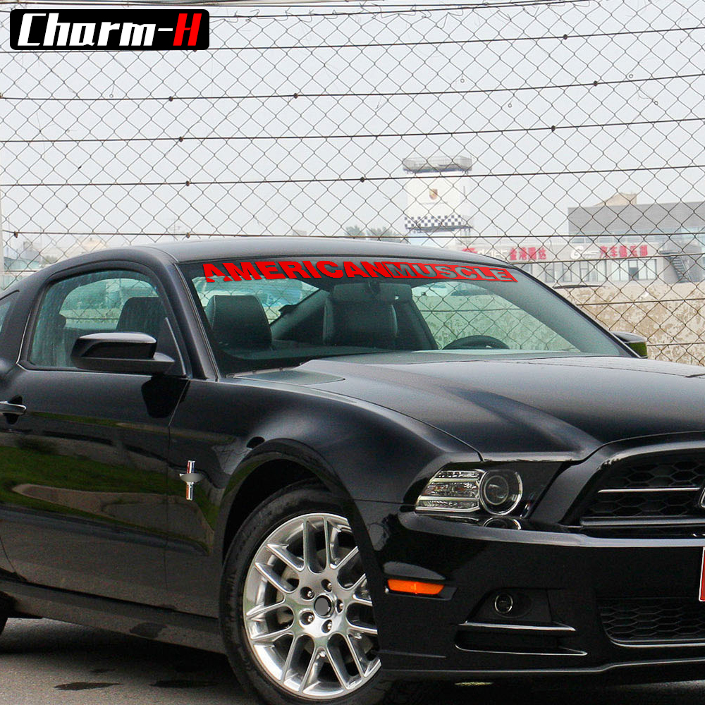 2pieces AMERICANMUSCLE Bold Text GT Front & Rear Window Windshield ...