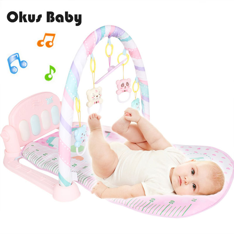 Baby Music And Light Play Mat Baby Gym Educational Fitness Frame Multi-bracket Baby Toys Game Piano Set With Animal