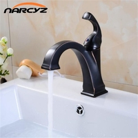 New Brass Oil Rubbed Bronze Black Faucet Bathroom Faucet Vanity Vessel Sinks Mixer Tap Cold And Hot Water Tap black mixer B524