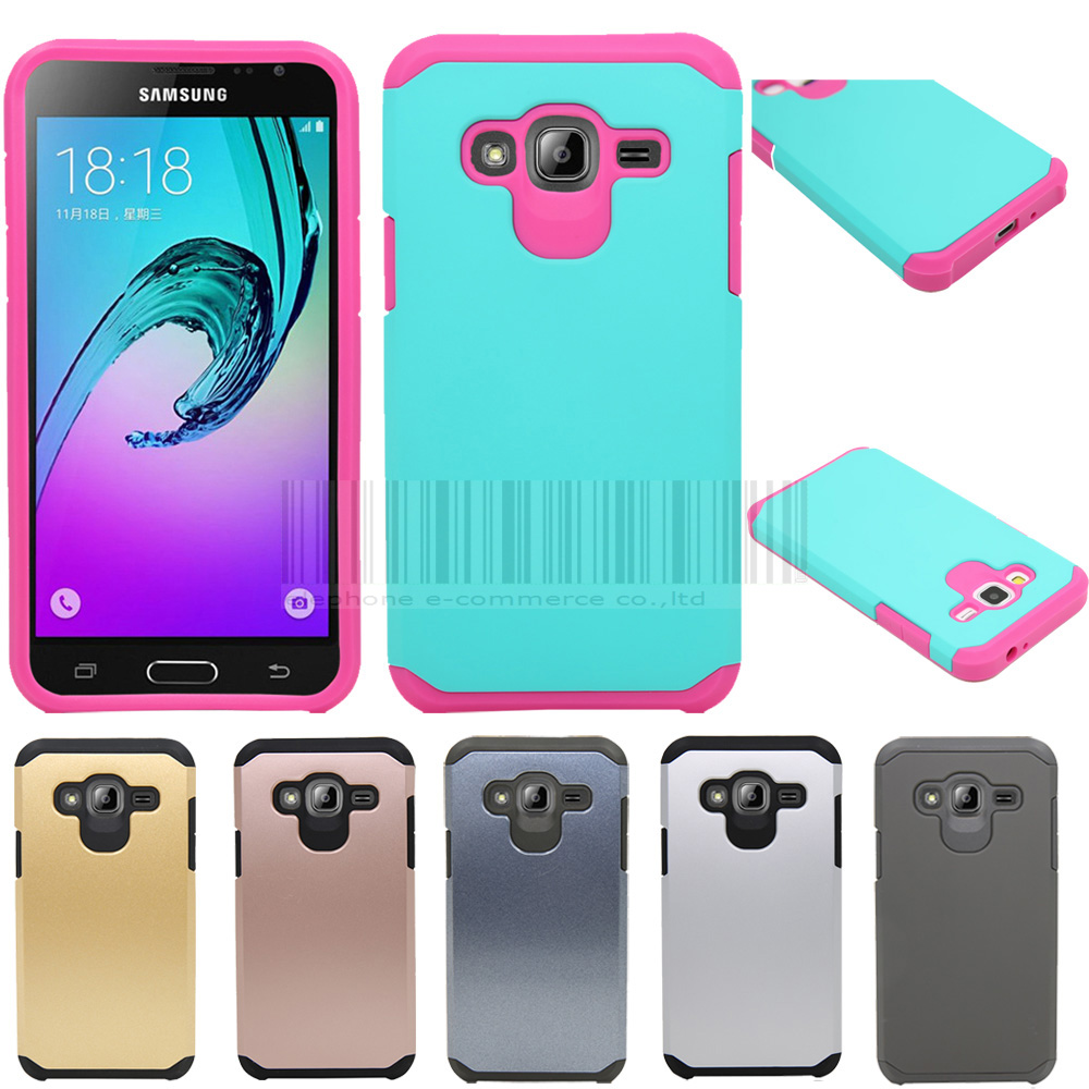 For Cricket Samsung Galaxy Amp Prime Slim Hybrid Shockproof Armor Case Hard Protective Cover-in