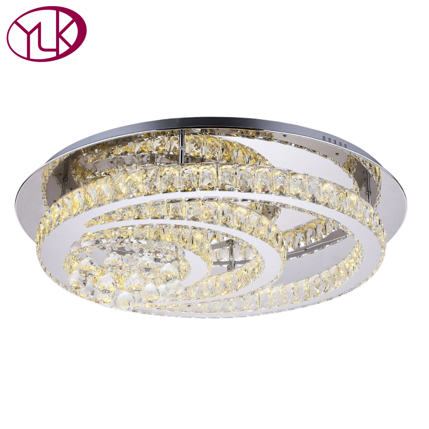 Luxury LED Modern Crystal Ceiling Lamp For Living Room Diameter 80cm Round Crystal Lighting Fixture For Bedroom Guaranteed 100% luxury novelty design k9 crystal modern ceiling chandelier home lighting fixture for parlor living room bedroom free shipping