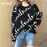 RUGOD 2019 Women Pullovers and Sweaters Autumn Winter Thick Warm Letter Loved Sweater Women Casual Plus Size Sweater harajuku