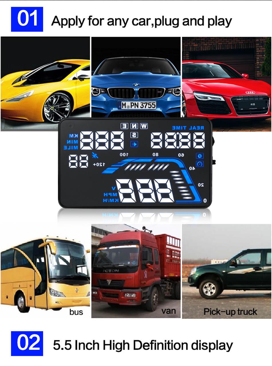 Universal Q7 5.5 Auto Car HUD GPS Head Up Display OBD II 2 Overspeed Warning Alarm Dashboard Windshield Project Speedometers-5