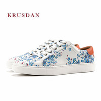 KRUSDAN New Casual Walking Men Shoes Genuine Leather Sneakers Slipper Lace Up Vulcanize Wedding Party Shoes Men Breathable Flats