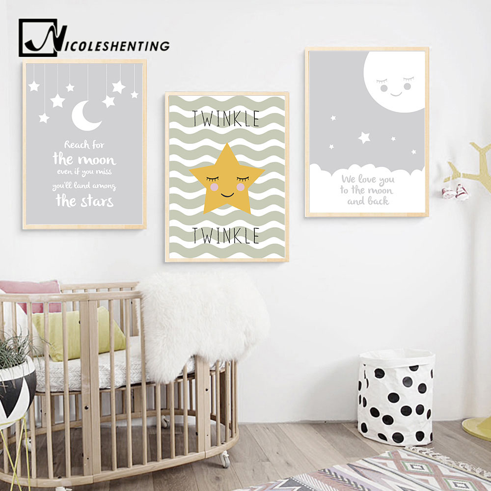 Star Moon Nursery Quote Wall Art Canvas Poster Nordic