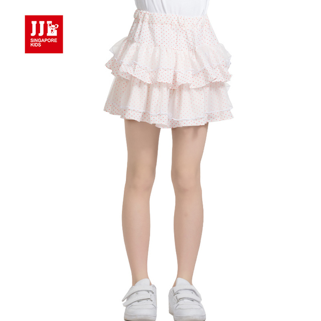 2015 news summer design girls sweets skirts kids dot printing chiffon skirts children's classics skirts size 4-11 free shippng