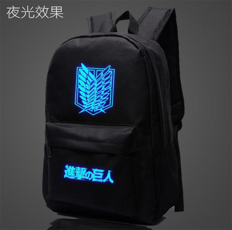 Japan Anime Attack on Titan Luminous Backpack Student Schoolbag Travel Bag Gift