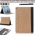 Ультратонкий волокна древесины серии фолио кожаный бумажник дизайн магнитный стенд чехол для iPad Apple , Pro 12.9 дюймов планшет