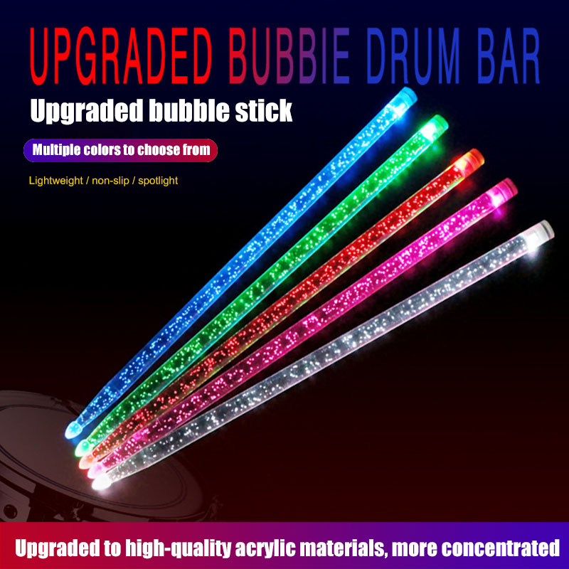 1 Pair 5A Acrylic Drum Stick Noctilucent Glow In The Dark Stage Performance Durable Portable Luminous Drumsticks
