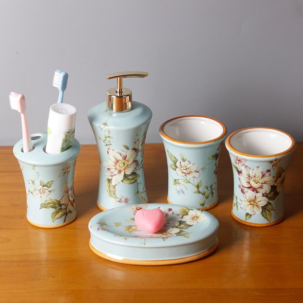 Ensemble de lavage en céramique style américain rose salle de bain ensemble de cinq fournitures de lavage de salle de bain couple brosse bouche tasse LO728507