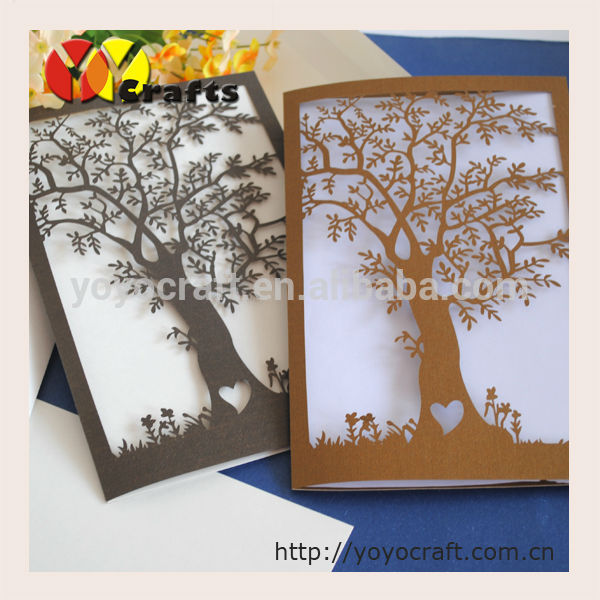 Cheap Indian Wedding Invitation Cards Handmade Tree Shape Baptism