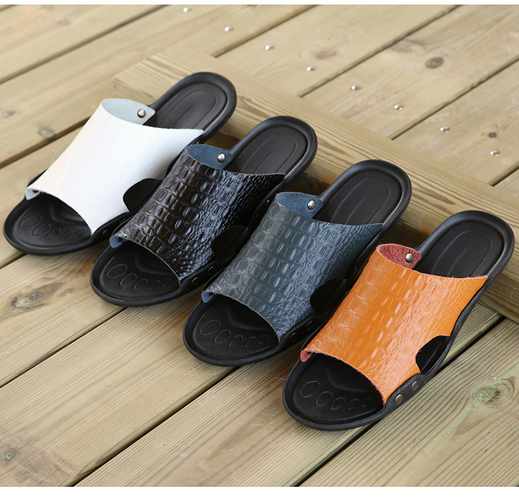 2018 New Men Genuine Leather Holiday Beach Shoes Flip Flops Men`s Casual Flat Shoes Sandals Summer Slippers For Men (16)