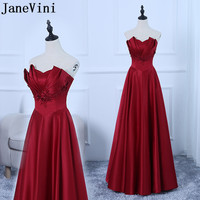 JaneVini Vestidos Burgundy Mother of Bride Dress 2018 A Line Strapless Lace Applique Beaded Satin Floor Length Abito Mamma Sposa