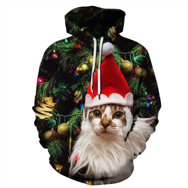 Raise Trust winter long sleeve hoodies men lovely cat Christmas hoodie hip hop sudadera hombre streetwear pullover hoddies women