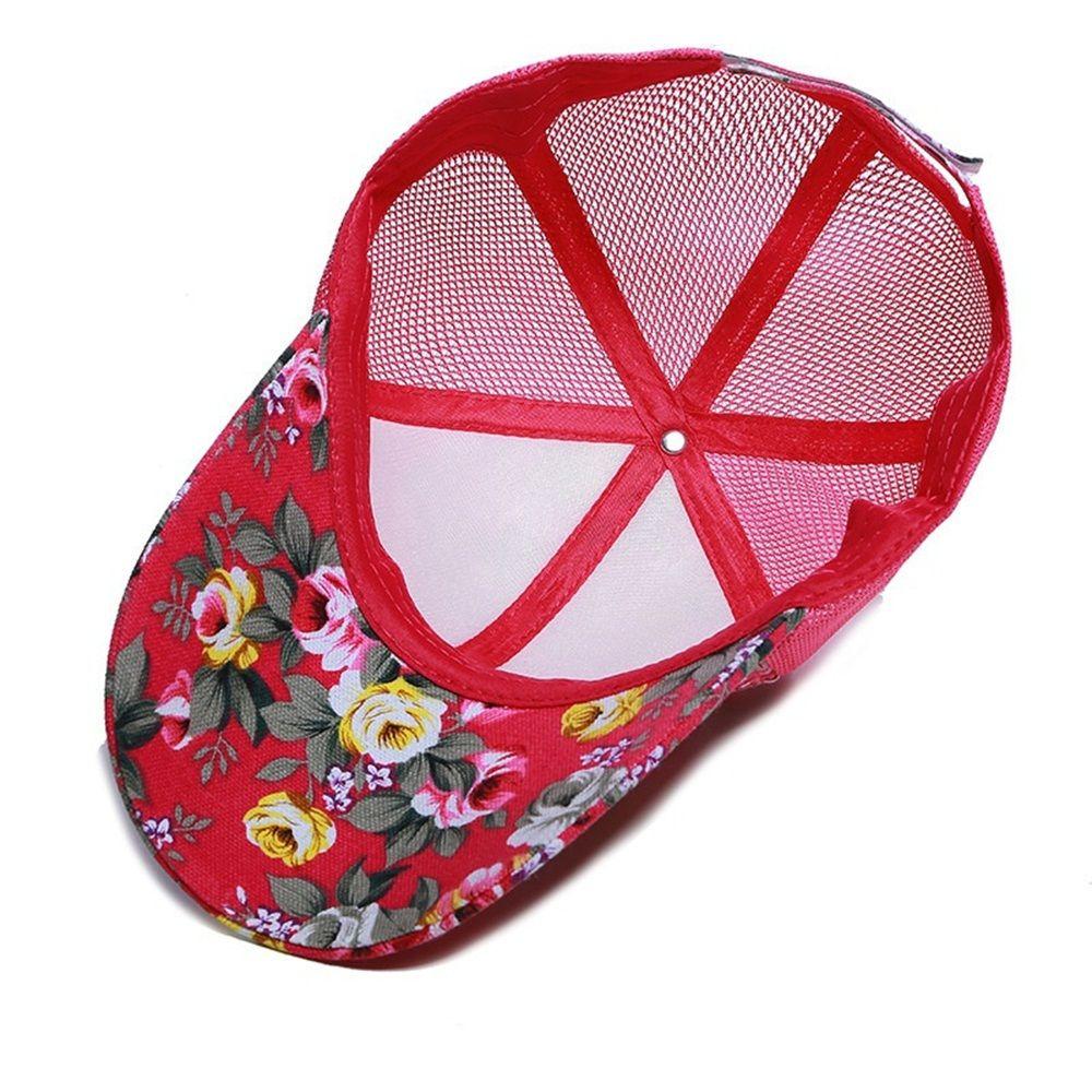 1 PCS Mode Frauen Mädchen Mesh Baseball Kappe Weibliche Floral Gedruckt Hut Outdoor Sport Visier Sonne Kappe Geschenk Eine Größe