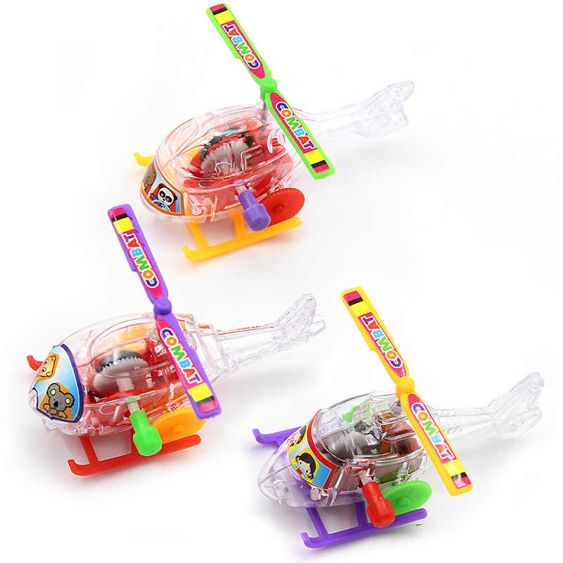Colorful New Baby Funny Plane Toys Somersault Running Clockwork Transparent Aircraft Wind Up Toy Random Colors
