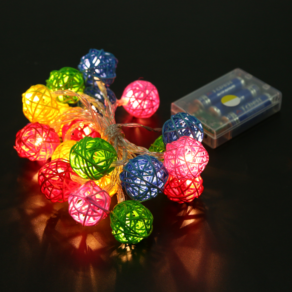 2.3m 20-LED Colorful Rattan Ball String Fairy Light Lamp 2G11 Base Wedding Party Festival Christmas Tree Decoration Lights