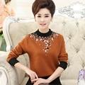 M-4XL Mulheres Camisola Outono Longo-sleeved Bottoming Malhas Plus Size Meia Gola Alta Costura Blusas Com Diamante J397