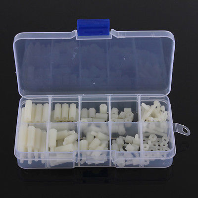 M3 Nylon Hex Spacers Screw Nut Assortment Kit Stand-off Plastic DIY Accessories 20pcs m3 6 m3 x 6mm aluminum anodized hex socket button head screw