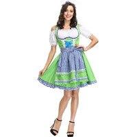 2 Colors Adult Women Oktoberfest Costume Sexy Beer Girl Uniform Bavaria German Wench Maid Dirndl Party Fancy Dress Z1207