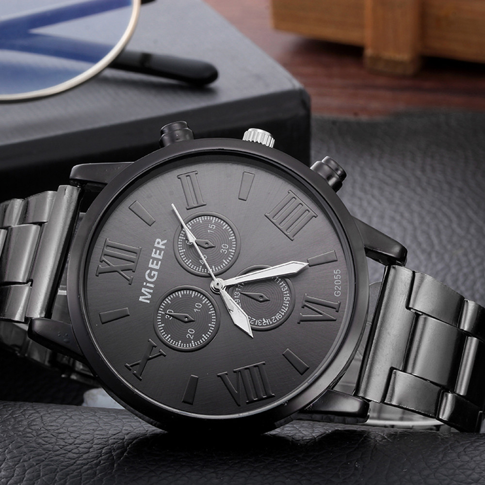 Man Watch Crystal Stainless Steel Analog Quartz Watch Man big dial watches for men wristwatch mens