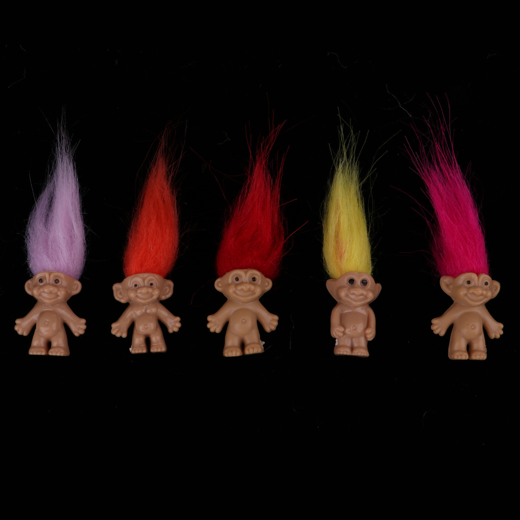 2 Set 16pcs Chromatic Lucky Troll Doll Mini Action Figures Toy Cake Toppers