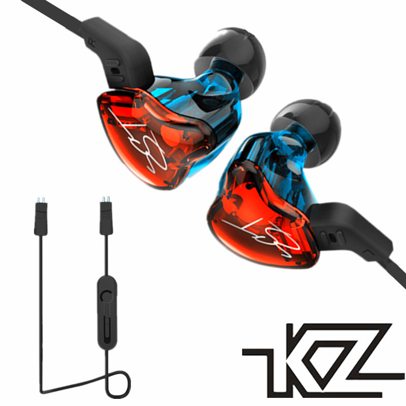 купить KZ ZST Hybrid Earphone Bluetooth+Wired 2 cables Armature+Dynamic Drive HI-FI Bass earphones with mic Sport music for iphone 8 X недорого