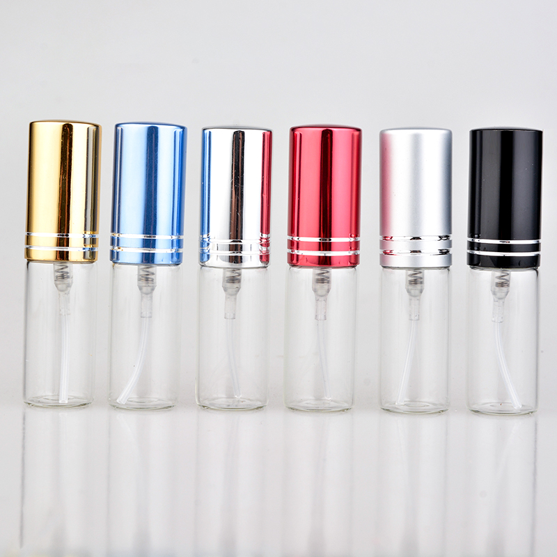 5ML Mini Portable Colorful Glass Perfume Bottle With Aluminum Atomizer Empty Cosmetic Containers For Travel 5 10ml 5 10 15 20 30pcs empty glass refillable portable mini perfume bottle