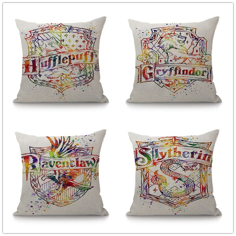 Reliable Harry Potter Pillow Polyester Home Decorative Pillow Cover For Sofa Cushion Cover Hufflepuff Gryffindor Slytherin Pillow Cases With The Best Service Home Decor
