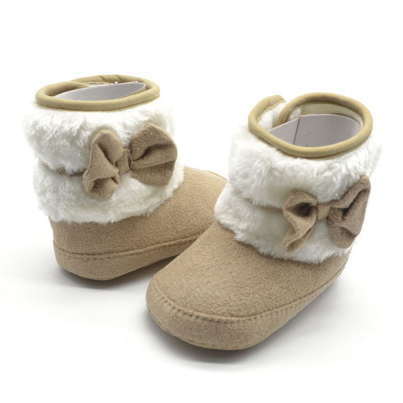 Toddler Kids Winter Woolen Snow Boots Bowknot Infant Soft Sole Baby Shoes Best