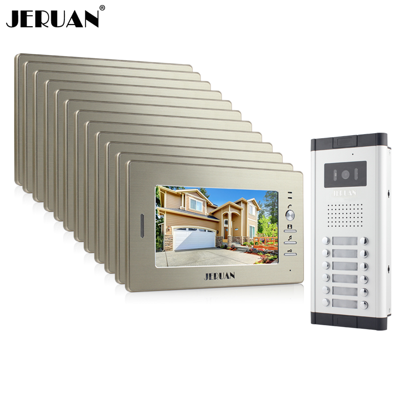 JERUAN New Apartment Intercom System 12 Monitors Wired 7 Color Video Door Phone intercom System for 12 houses FREE SHIPPING brand new apartment intercom entry system 2 monitors wired 7 color video door phone intercom system for 2 house free shipping