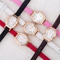 Mini Pequeno Dial Rose Gold Cobra Genuíno Couro De luxo Relógio de Pulso Relógios De Pulso para Mulheres Das Meninas Das Senhoras Rosa Preto Branco OP001