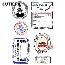 Passport Postmarks Transparent Rubber Clear Stamps for Scrapbooking DIY Photo Album Embossing Stencils Folder Paper Decor Sheets цена