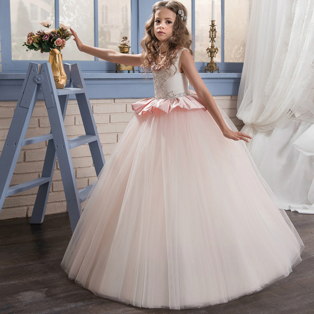 Satin Flower Girl Dresses Beading Ruffles Little Bridesmaid Wedding Pink Scoop Tulle Ball Gowns