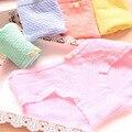 5pcs/lot Women Underwear Panties Girls Bubble Breathable Cotton Bow Briefs Ladies Low Rise Candy Color Underpants Wholesale 9040