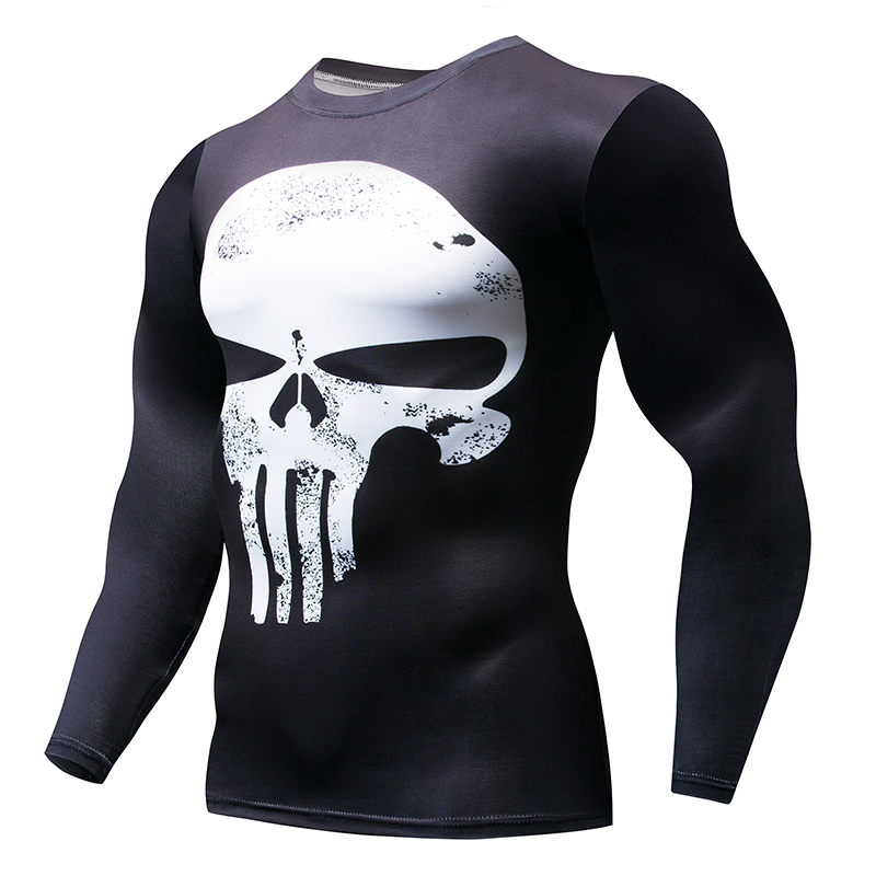 0ad1ebf91cce Superman Punisher Rash Guard Running Men's White Skull T-Shirt Crossfit  Workout Long Sleeve Compression Gym