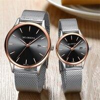 ORKINA Lovers Quartz Watches Women Men Gold WristWatches Top Brand Luxury Female Male Clock Golden Ultrathin Steel Watch