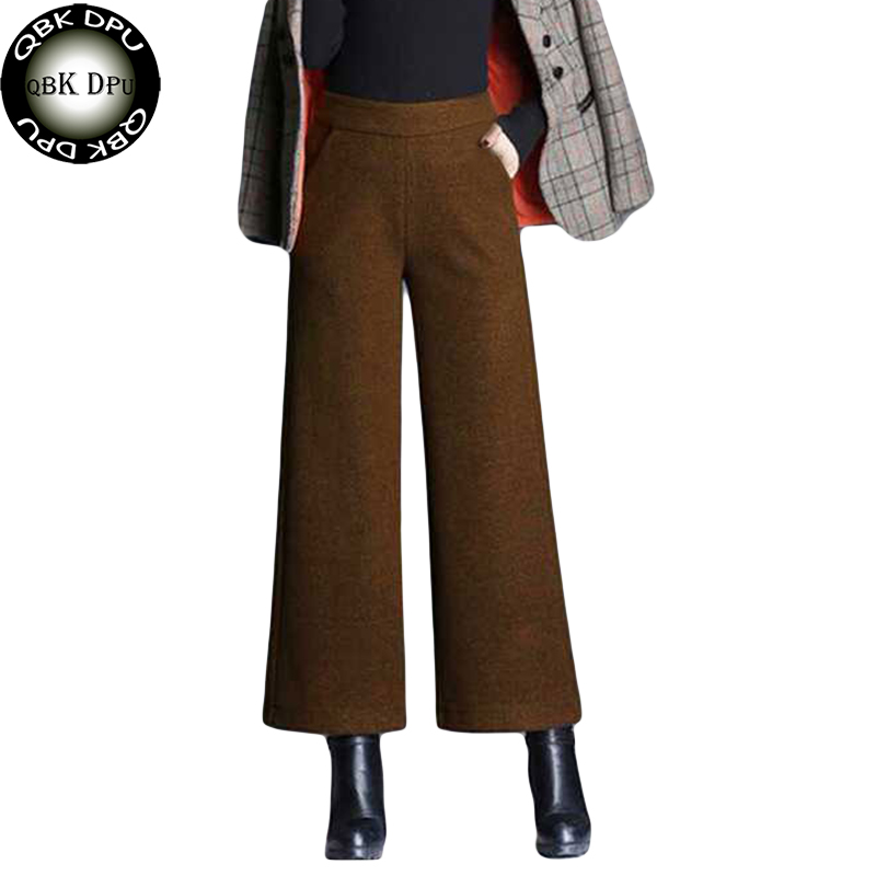 Korean Style High Waist   Wide     Leg     Pants   Women High Quality Wool Blend Loose   Pants   And Ladies Office Autumn Winter Casual Trousers