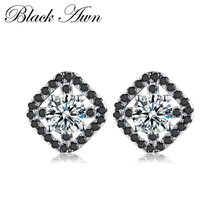 [BLACK AWN] 100% 925 Sterling Silver Earrings Jewelry Wedding Stud for Women Black Spinel T178