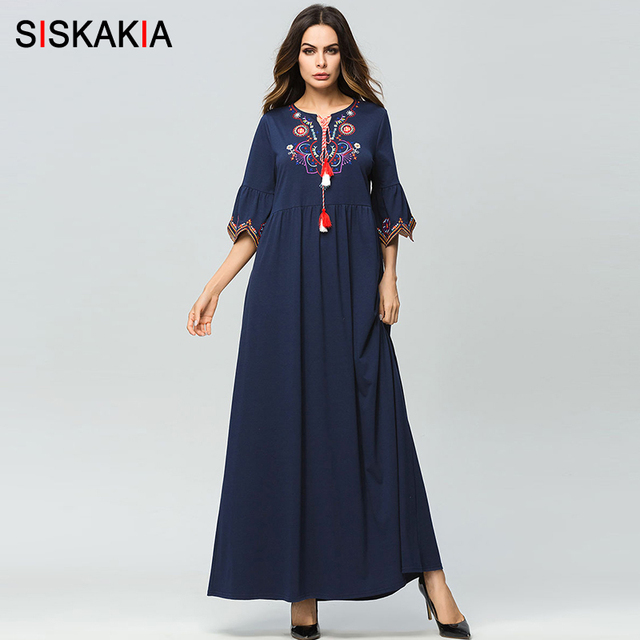 Siskakia נשים בציר פרחוני רקמת שמלת שרוך עניבת התלקחות שרוול אלגנטי גבירותיי אופנה מקרית מקסי ארוך שמלות כחול
