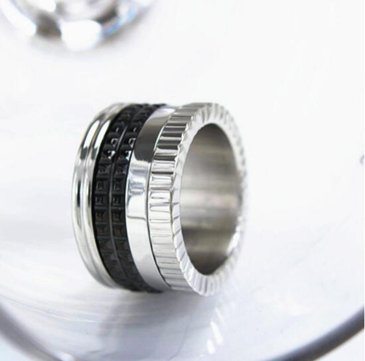 2016 high quality black ceramic ring silver plated titanium gear famous brand rings for men women - Gear Wedding Ring