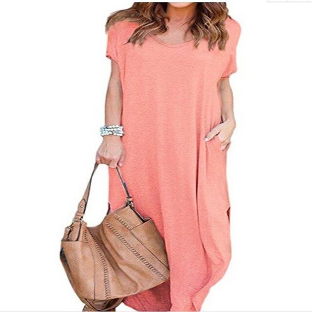 Plus Size 5XL Sexy Women Dress Summer 2020 Solid Casual Short Sleeve Maxi Dress For Women Long Dress Free Shipping Lady Dresses 6