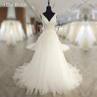 V Neckline Lace Tulle Wedding Dress Classic Bridal Gown Factory Custom Make High Quality