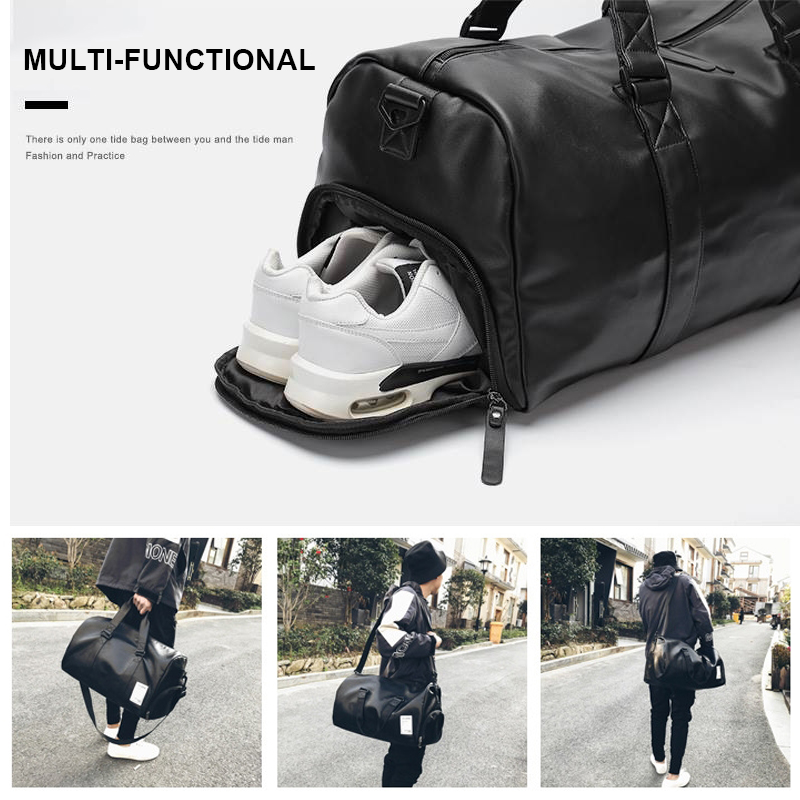 Women Men Leather Travel Bag Waterproof PU Leather Sport Gym Bags For Girls Boy Student Duffle Bags Hand Shoulder Traveling Bag