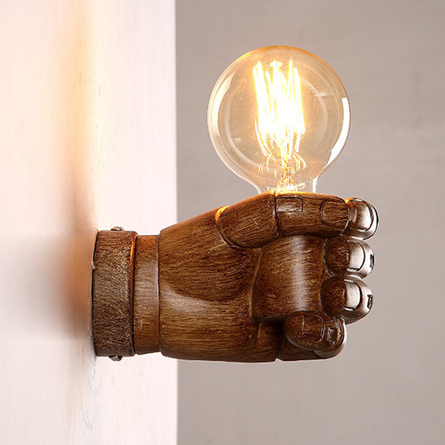 Loft Industrial Vintage Hand Holder Fist Wall Lamp Led Resin Wood ...