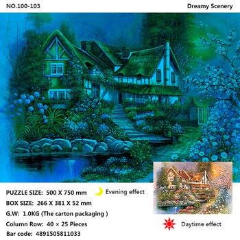 Night luminous ภาพวาดสีน้ำมันจิ๊กซอว์ปริศนา 1000 ชิ้นการ์ตูนผู้ใหญ่