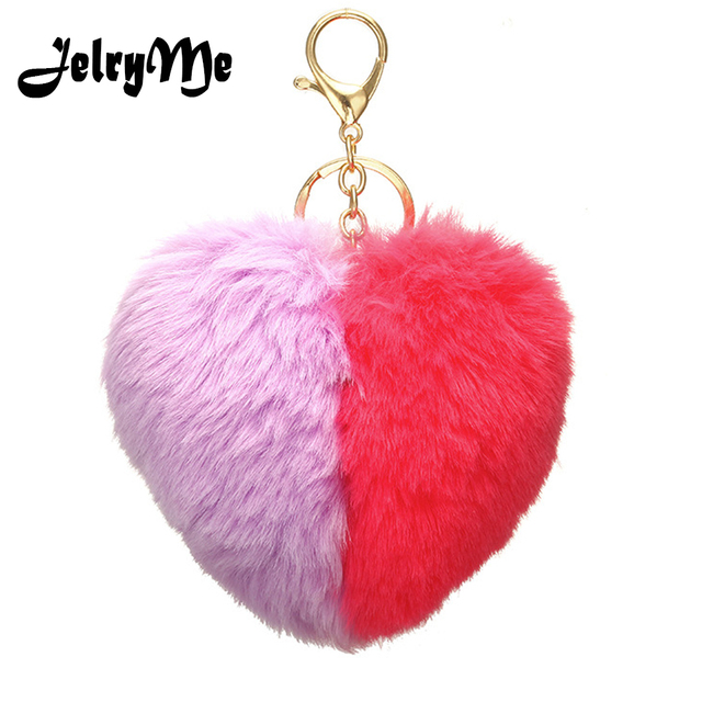 Big Size Fluffy Heart Keychains Double Color Faux Rabbit Fur Pompom Key  Chain Women Bag Pendant 9cd827b2b4fed